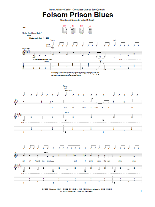 Tablature guitare Folsom Prison Blues de Johnny Cash - Tablature Guitare