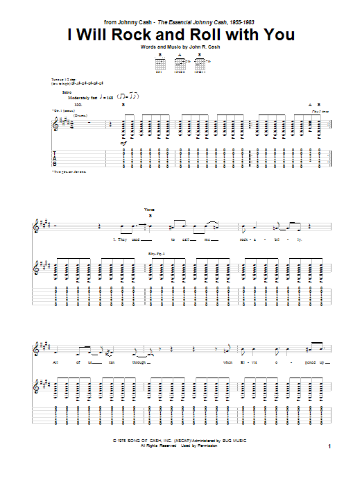 Tablature guitare I Will Rock And Roll With You de Johnny Cash - Tablature Guitare