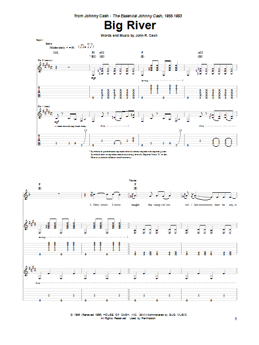 Tablature guitare Big River de Johnny Cash - Tablature Guitare