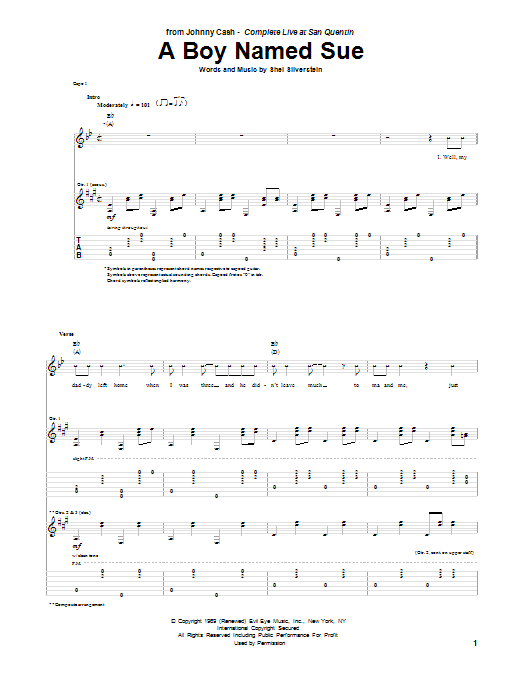 Tablature guitare A Boy Named Sue de Johnny Cash - Tablature Guitare