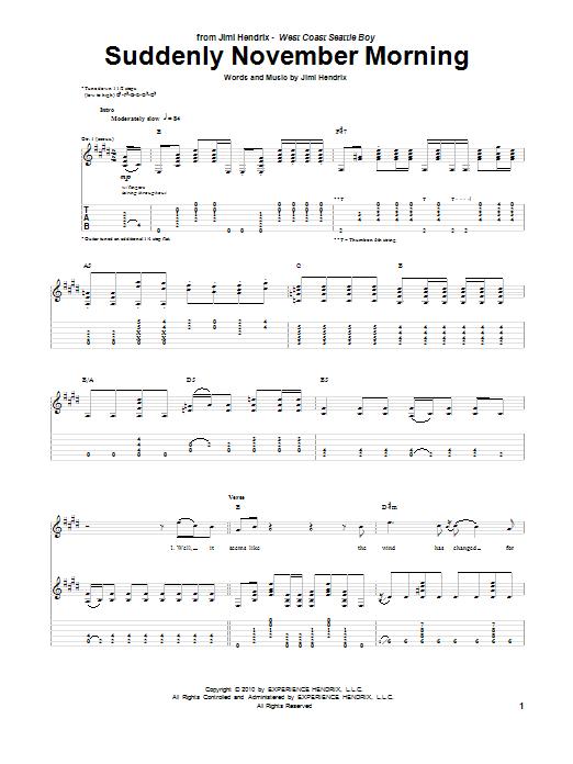 Tablature guitare Suddenly November Morning de Jimi Hendrix - Tablature Guitare