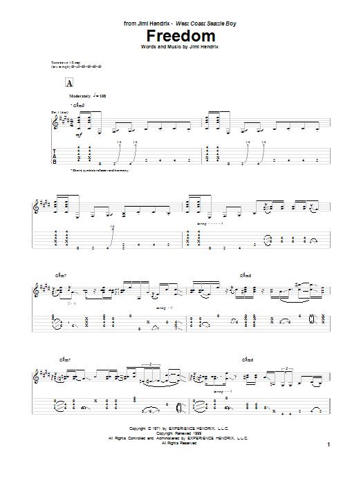 Tablature guitare Freedom de Jimi Hendrix - Tablature Guitare