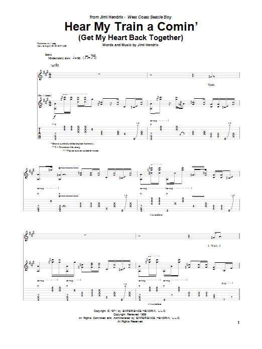 Tablature guitare Hear My Train A Comin' (Get My Heart Back Together) de Jimi Hendrix - Tablature Guitare