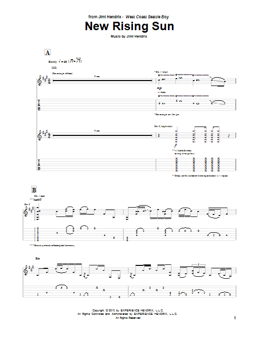 Tablature guitare The New Rising Sun de Jimi Hendrix - Tablature Guitare