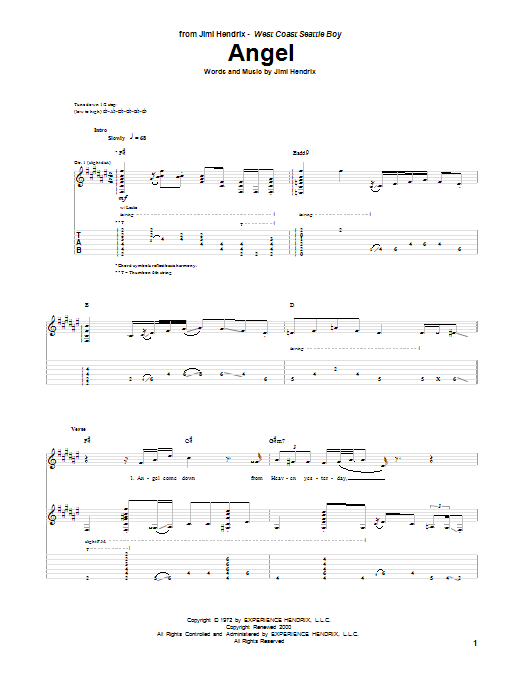 Tablature guitare Angel de Jimi Hendrix - Tablature Guitare