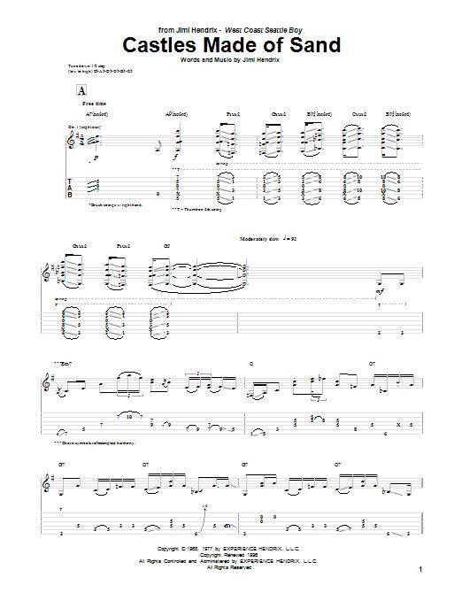 Tablature guitare Castles Made Of Sand de Jimi Hendrix - Tablature Guitare