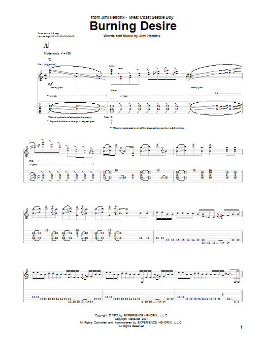 Tablature guitare Burning Desire de Jimi Hendrix - Tablature Guitare