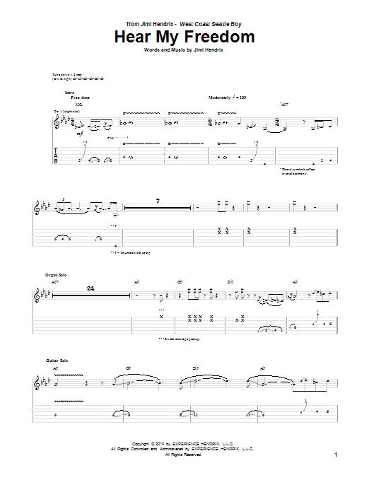 Tablature guitare Hear My Freedom de Jimi Hendrix - Tablature Guitare