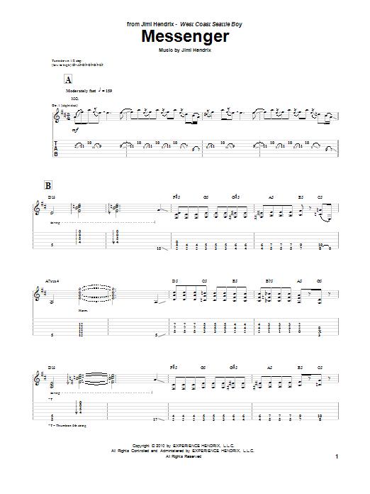Tablature guitare Messenger de Jimi Hendrix - Tablature Guitare
