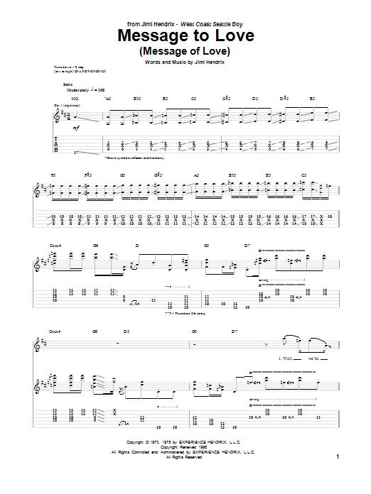 Tablature guitare Message To Love (Message Of Love) de Jimi Hendrix - Tablature Guitare