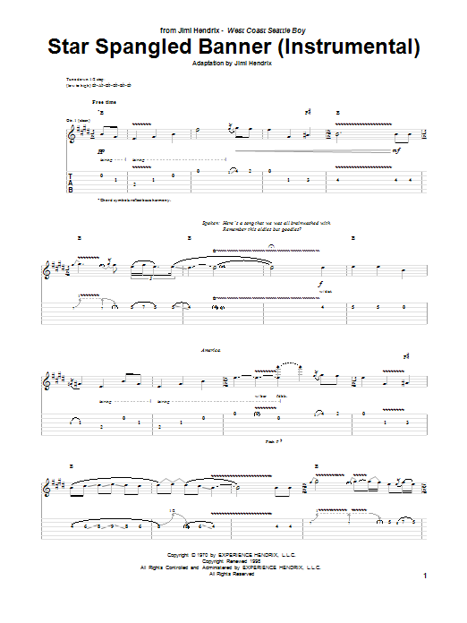 The Star Spangled Banner (Instrumental) by Jimi Hendrix - Guitar Tab - Guitar Instructor