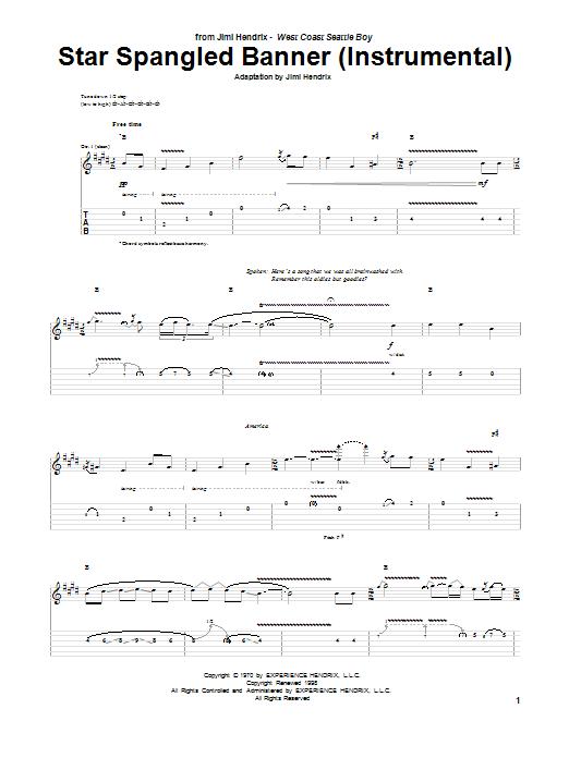 Tablature guitare The Star Spangled Banner (Instrumental) de Jimi Hendrix - Tablature Guitare