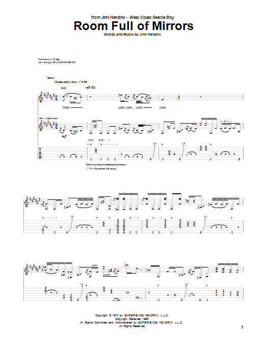Tablature guitare Room Full Of Mirrors de Jimi Hendrix - Tablature Guitare