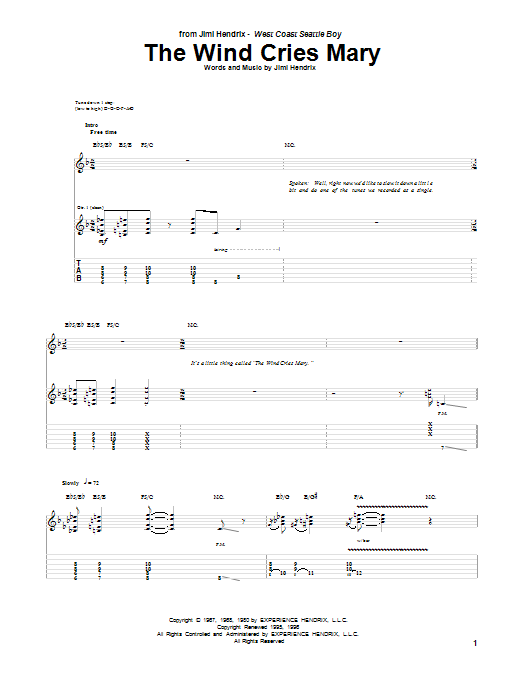 Tablature guitare The Wind Cries Mary de Jimi Hendrix - Tablature Guitare
