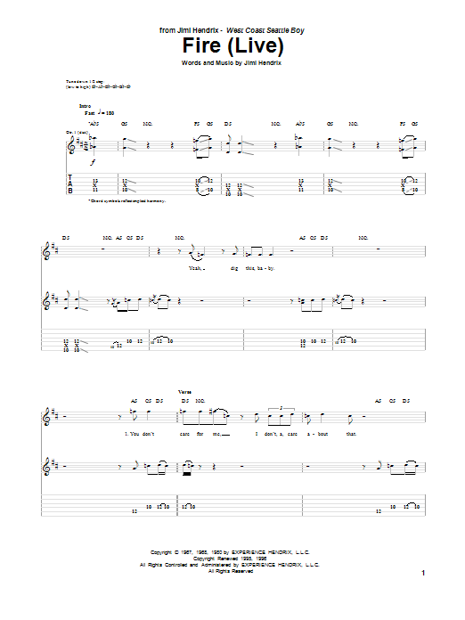 Tablature guitare Fire de Jimi Hendrix - Tablature Guitare