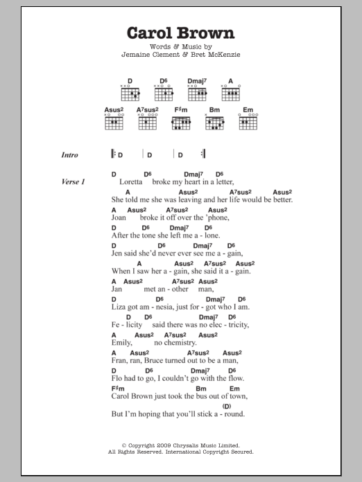 Carol Brown sheet music for guitar solo (chords, lyrics, melody) by Jemaine Clement