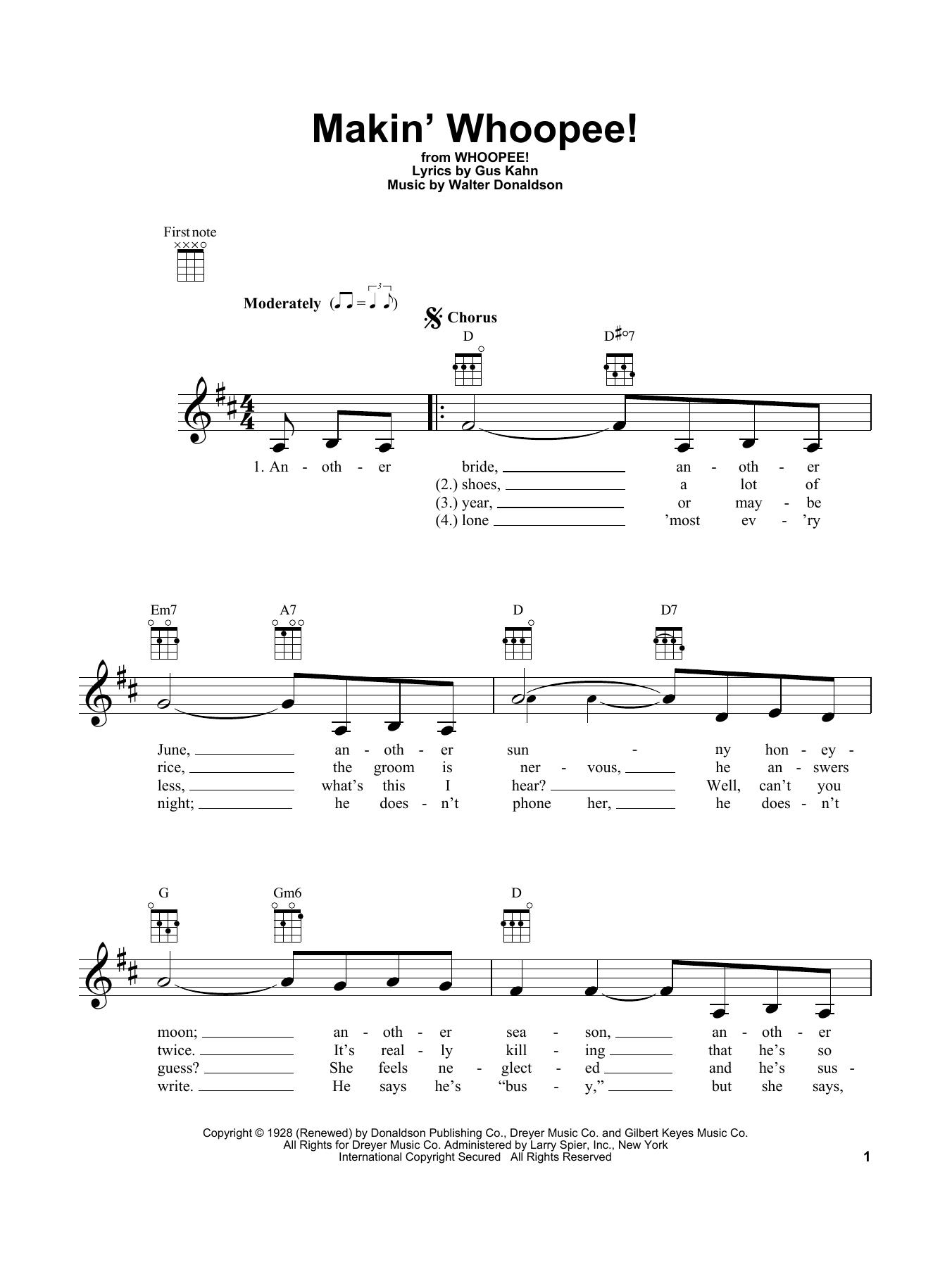 Tablature guitare Makin' Whoopee! de John Hicks - Ukulele