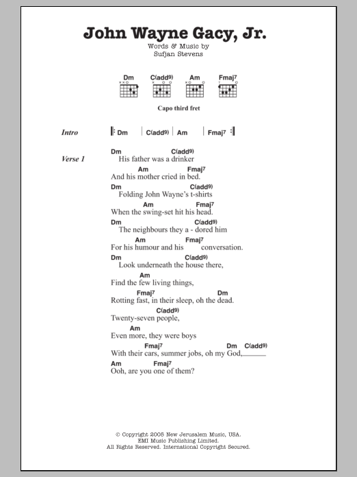John Wayne Gacy, Jr. sheet music for guitar solo (chords, lyrics, melody) by Sufjan Stevens