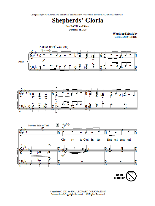 Partition chorale Shepherd's Gloria de Gregory Berg - SATB