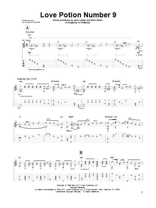 Tablature guitare Love Potion Number 9 de Leiber & Stoller - Tablature Guitare