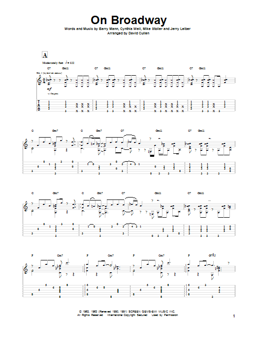 Tablature guitare On Broadway de Leiber & Stoller - Tablature Guitare
