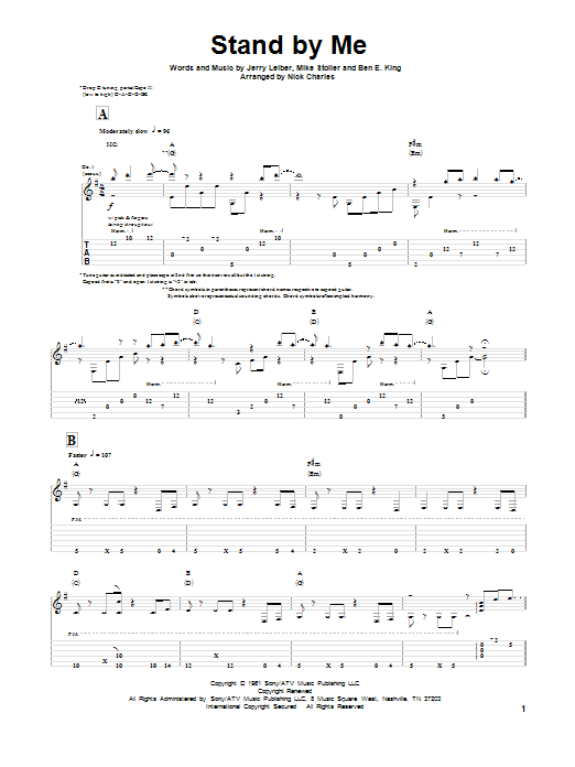 Tablature guitare Stand By Me de Leiber & Stoller - Tablature Guitare
