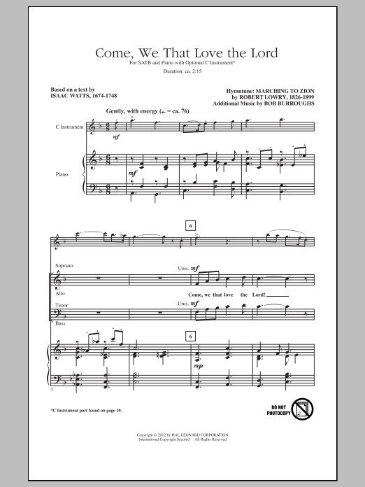Partition chorale Come, We That Love The Lord de Robert Lowry - SATB
