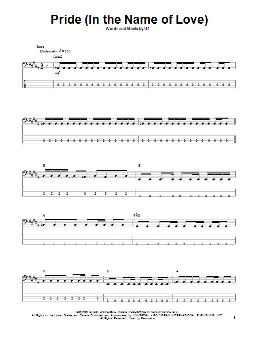 Tablature guitare Pride (In The Name Of Love) de U2 - Tablature Basse
