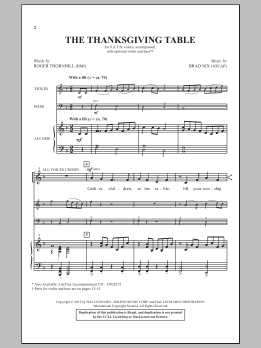 The Thanksgiving Table sheet music for choir and piano (SATB) by Brad Nix