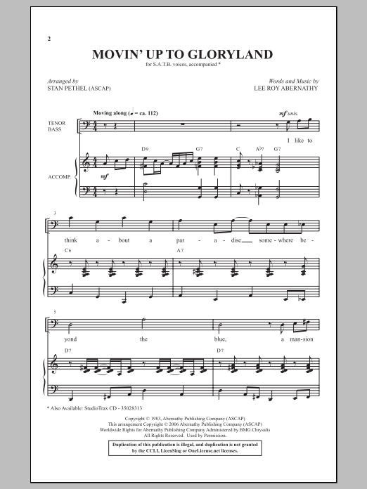 Partition chorale Movin' Up To Gloryland (from Gospel Voices) de Stan Pethel - SATB