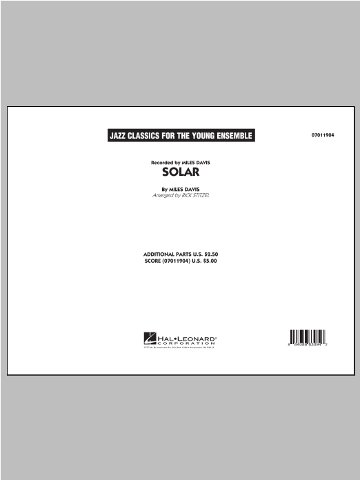 Solar (COMPLETE) sheet music for jazz band by Rick Stitzel