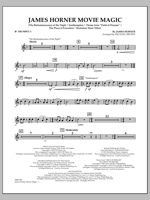 Sheet Music Digital Files To Print Licensed James Horner Digital