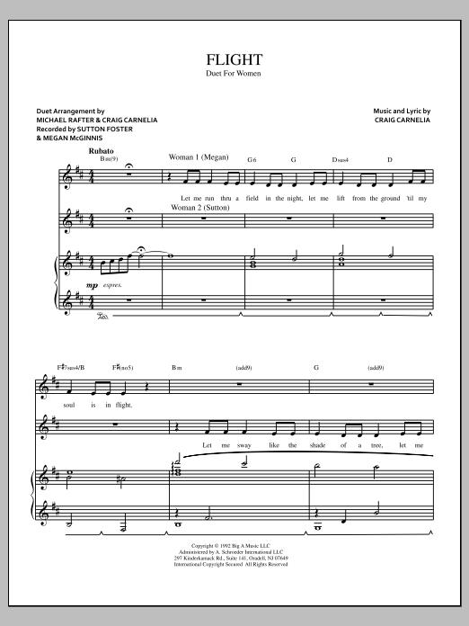 Partition piano Flight de Craig Carnelia - Piano Voix Guitare (Mélodie Main Droite)
