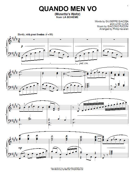 Musetta's Waltz (Quando Men Vo) sheet music for piano solo by Luigi Illica