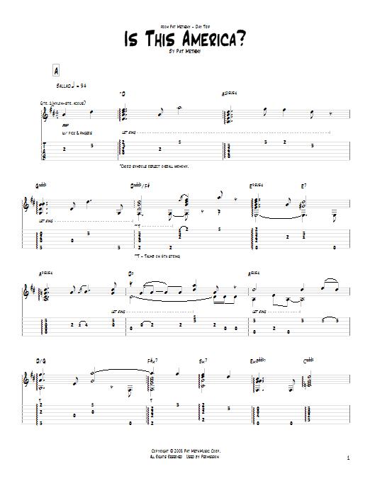 Tablature guitare Is This America? de Pat Metheny - Tablature Guitare