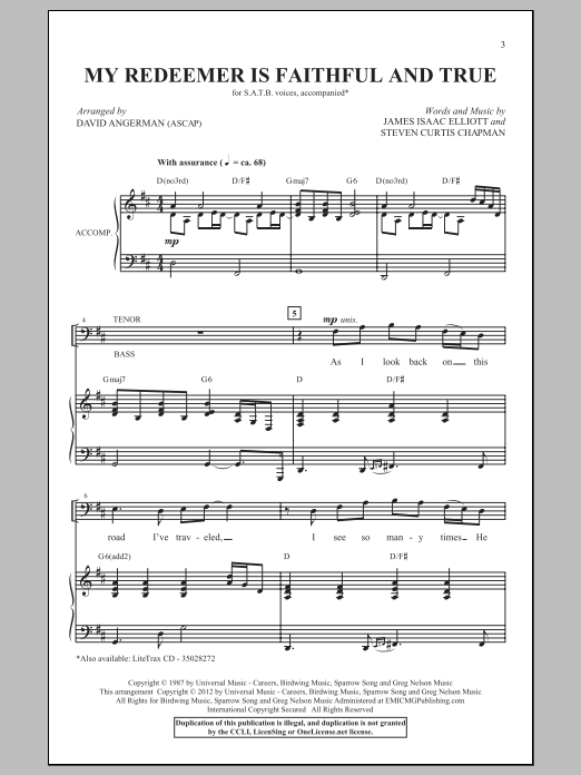 Partition chorale My Redeemer Is Faithful And True de David Angerman - SATB
