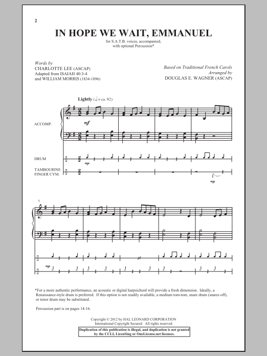 Partition chorale In Hope We Wait, Emmanuel de Douglas E. Wagner - SATB