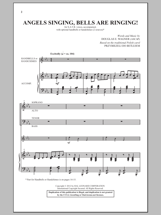 Partition chorale Angels Singing, Bells Are Ringing! de Douglas Wagner - SATB