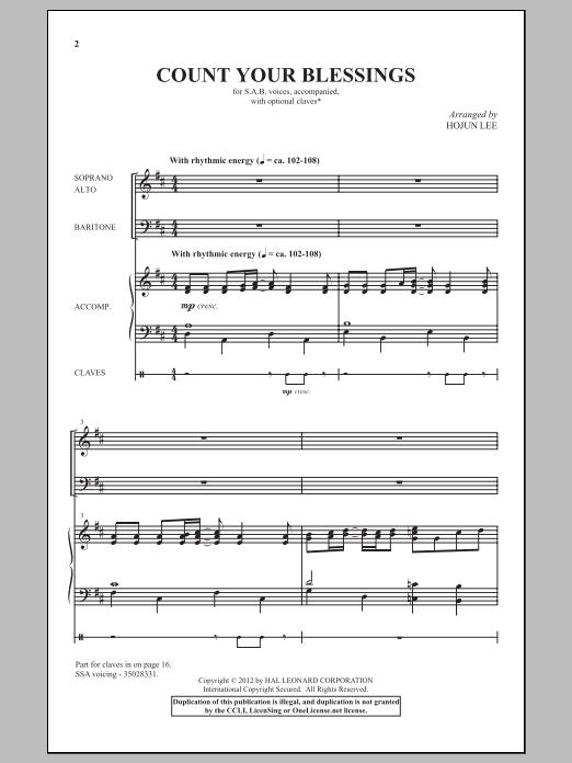 Partition chorale Count Your Blessings de Hojun Lee - SAB