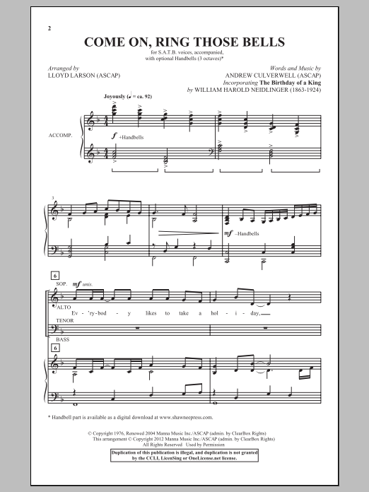 Partition chorale Come On, Ring Those Bells de Lloyd Larson - SATB