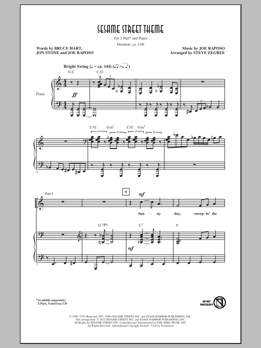 Sesame Street Theme sheet music for choir and piano (duets) by Bruce Hart