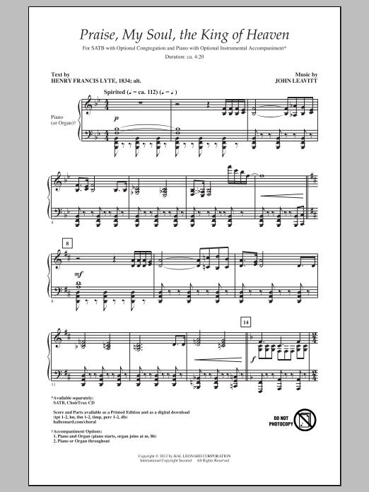 Partition chorale Praise My Soul, The King Of Heaven de John Leavitt - SATB
