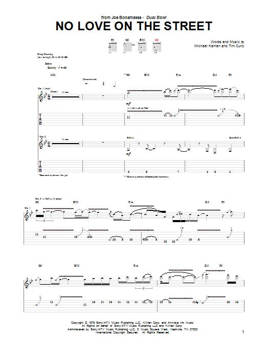 Tablature guitare No Love On The Street de Joe Bonamassa - Tablature Guitare