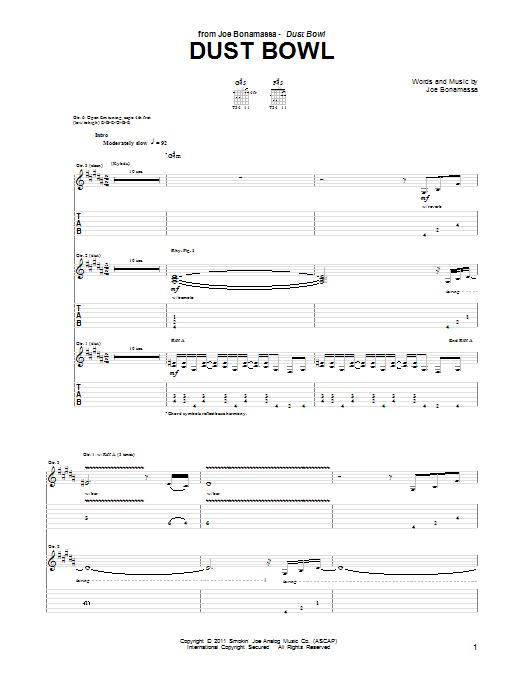 Tablature guitare Dust Bowl de Joe Bonamassa - Tablature Guitare