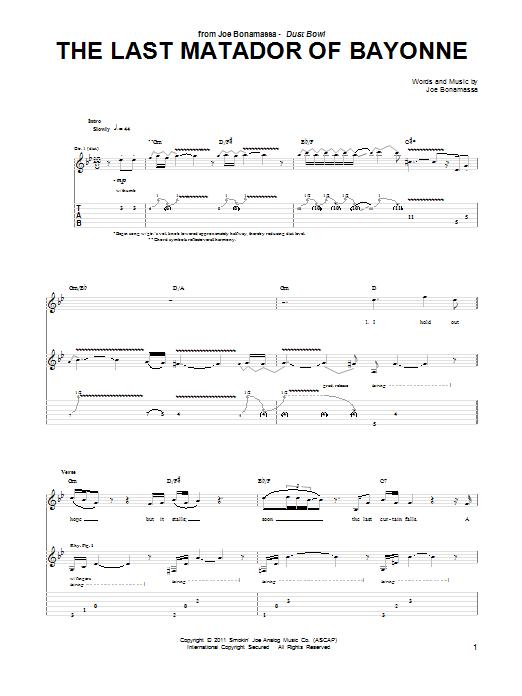 Tablature guitare The Last Matador Of Bayonne de Joe Bonamassa - Tablature Guitare