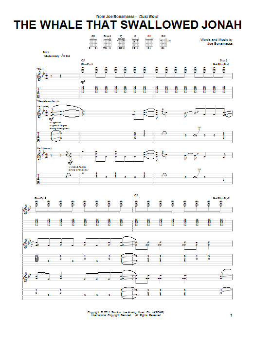 Tablature guitare The Whale That Swallowed Jonah de Joe Bonamassa - Tablature Guitare