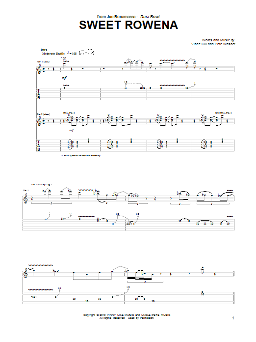 Tablature guitare Sweet Rowena de Joe Bonamassa - Tablature Guitare