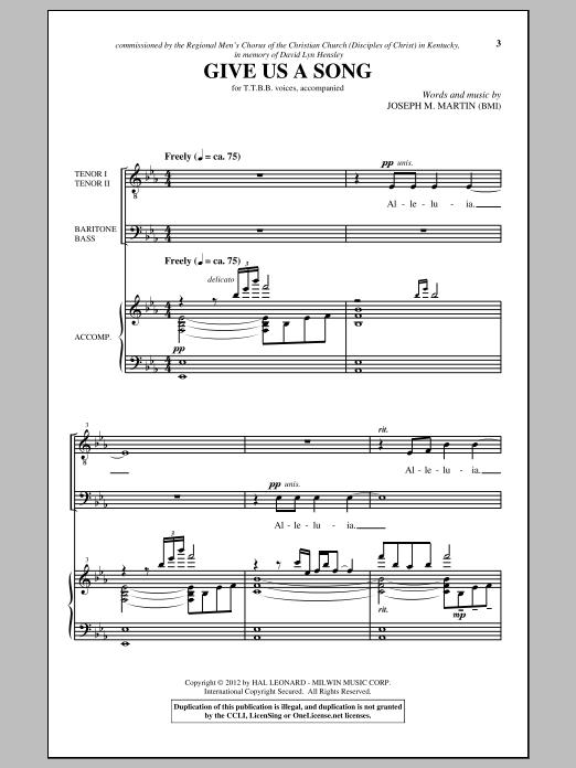 Partition chorale Give Us A Song de Joseph M. Martin - TTBB