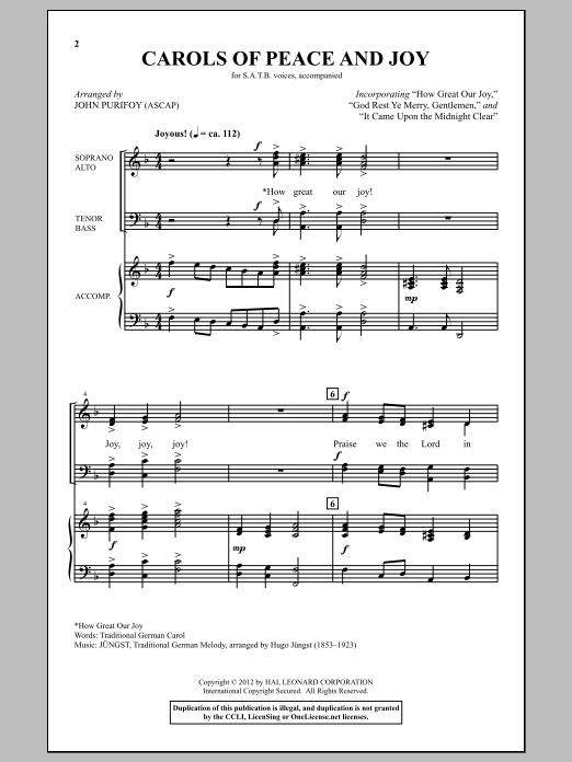 Partition chorale Carols Of Peace And Joy de John Purifoy - SATB