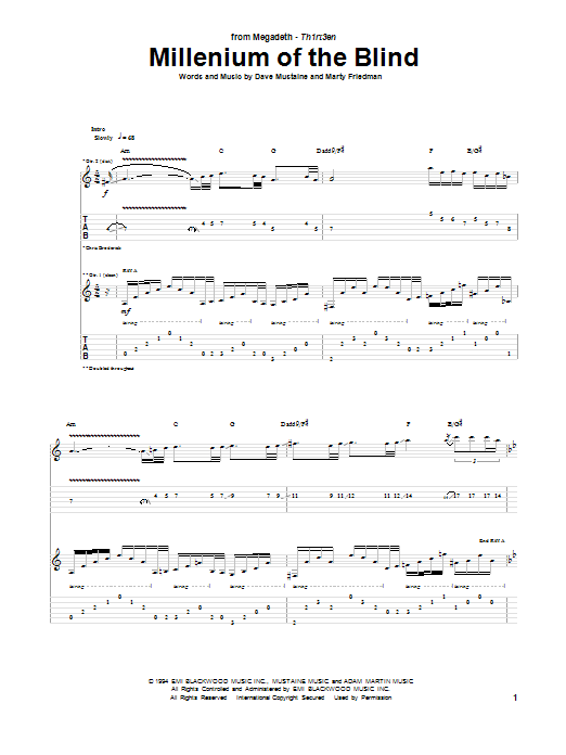 Millenium Of The Blind sheet music for guitar solo (tablature) by Marty Friedman